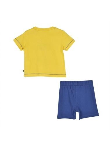 Silversun Kids Erkek Bebek Baskılı Ve Omuzdan Düğmeli Kısa Kollu Tişört Şort Takım !Kt 115579 Sarı